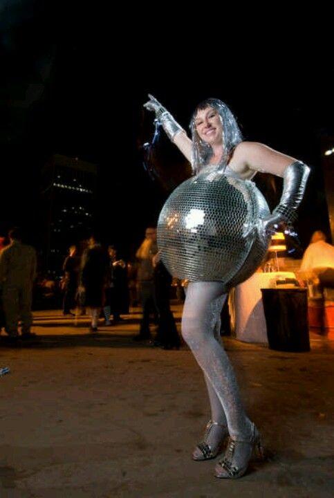 Diso ball pregnancy costume disco balldisco partydisco theme  partyfunny costumesdiy also happy halloween pinterest rh