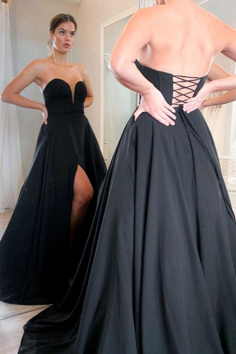 Sweetheart Neck Black Long Prom Dresses Black Corset Back Formal Evening Dresses Prom Dresses With Pockets Black Evening Dresses Black Prom Dresses [ 1152 x 768 Pixel ]