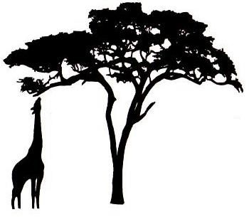 African Textile Circle Giraffe & Acacia Silhouette to paint on a cinderblock