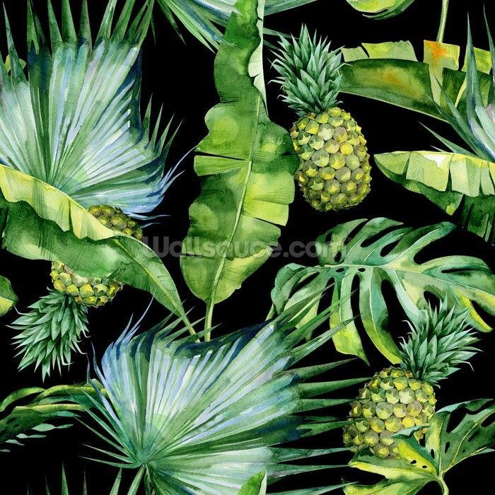 Palm Leaf Jungle Wallpaper with Pineapple Print wallpaper