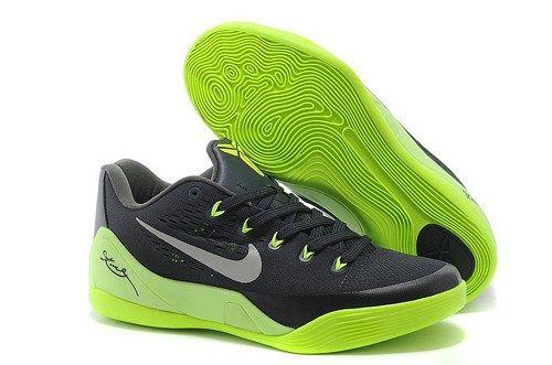 Nikes 653972-615 Kobe 9 EM Low Black Green Grey mens basketball Shoes