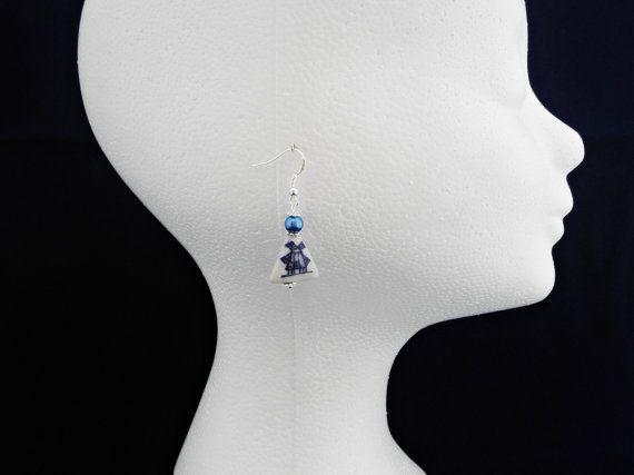 Ceramic windmill earrings, Delft blue dangle earrings, Ceramic and pearl earrings, Delft jewelry, Blue pearl dangle earrings, Netherlands
