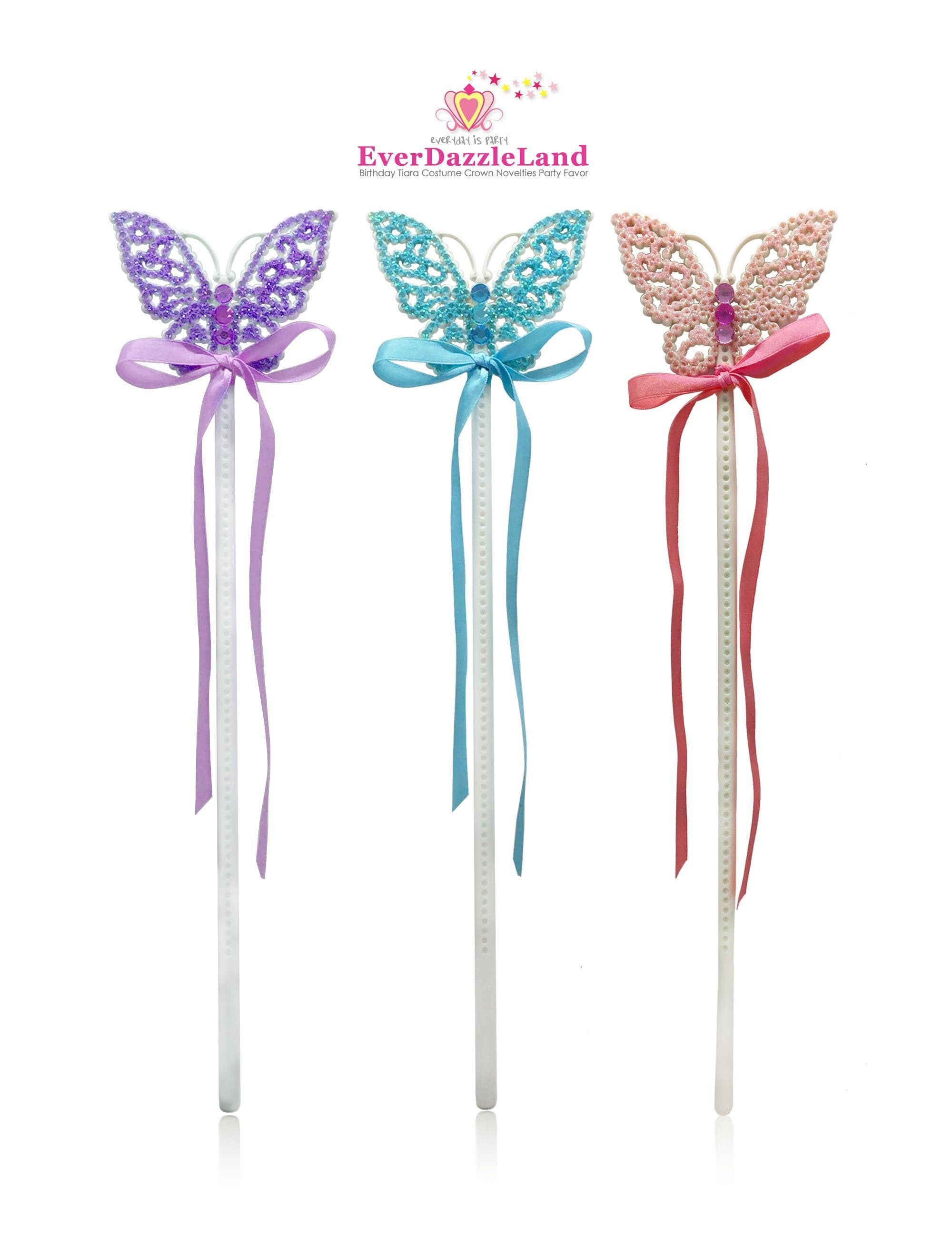 Girls Pink Butterfly Fairy Wings /& Heart Magic Wand Angel Costume Props