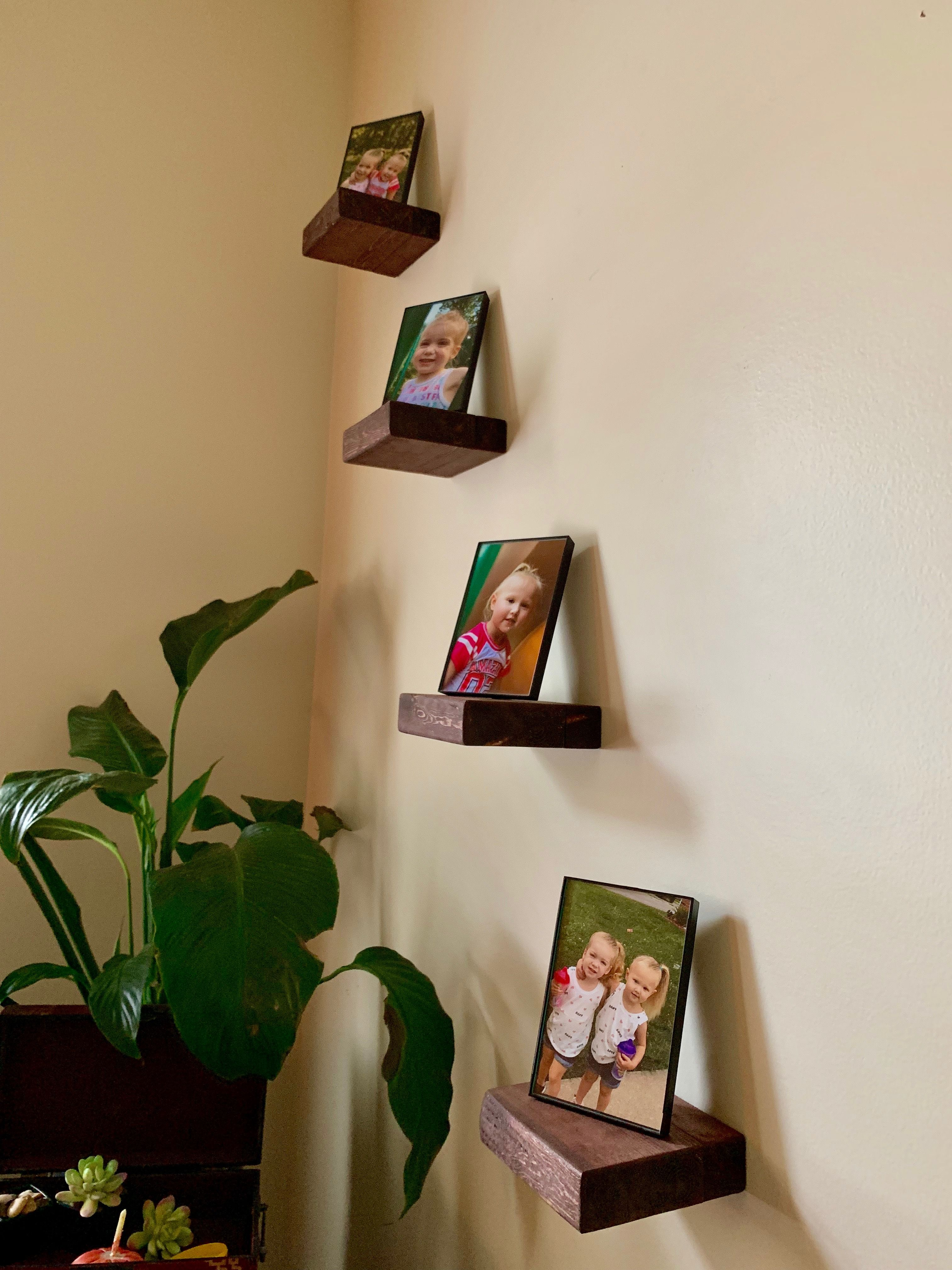 Handcrafted Floating Wood Block Shelves Great For Decoration