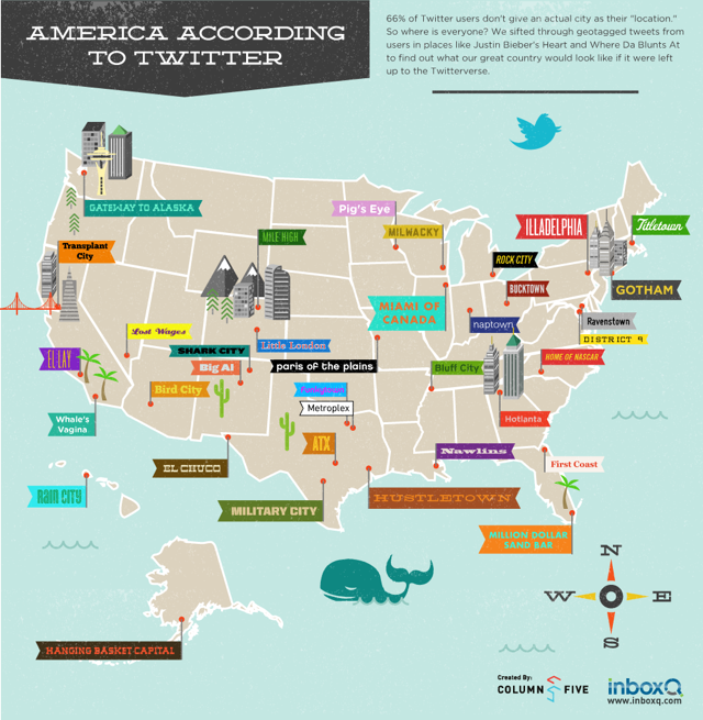 American City Names According To Twitter American City Names Infographic Map America Map