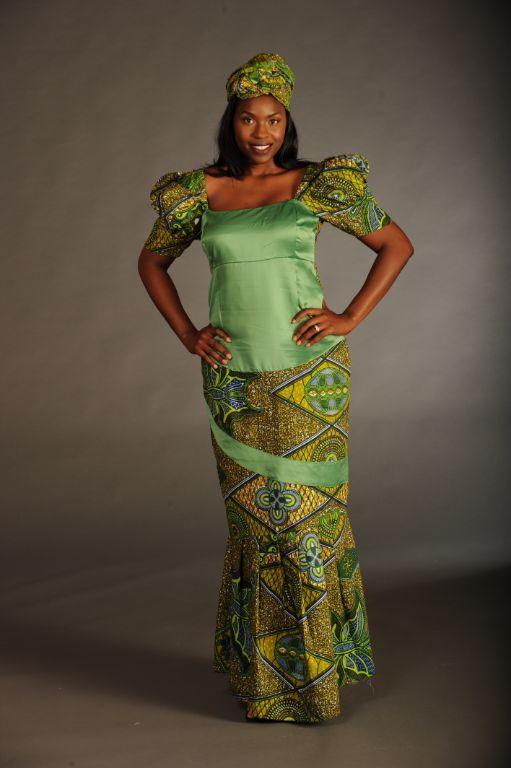 Ghanaian Dress Designs Of Green Satin With Wax Print