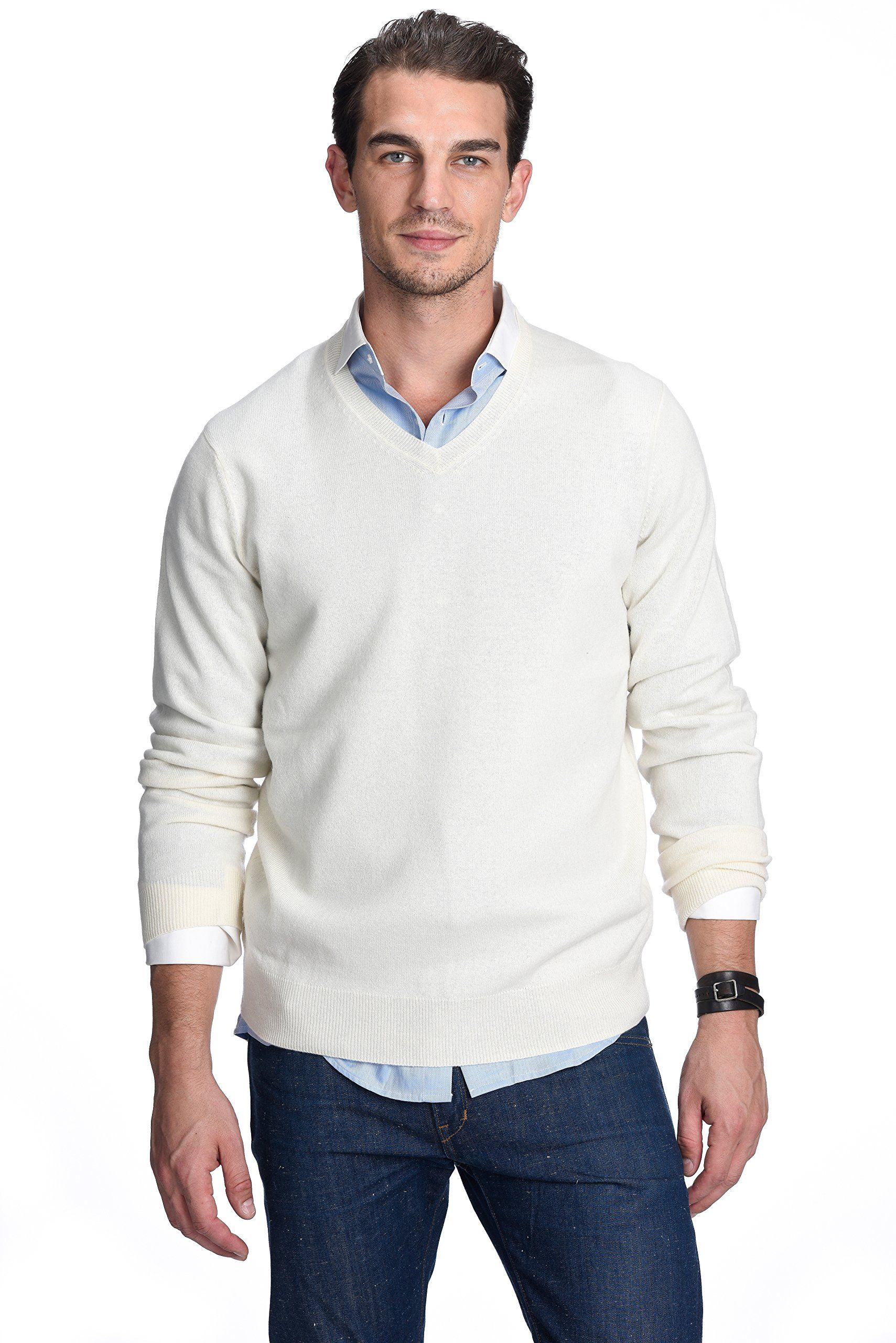 b1cd7bcff State Cashmere Men s 100% Pure Cashmere Long Sleeve Pullover V Neck ...