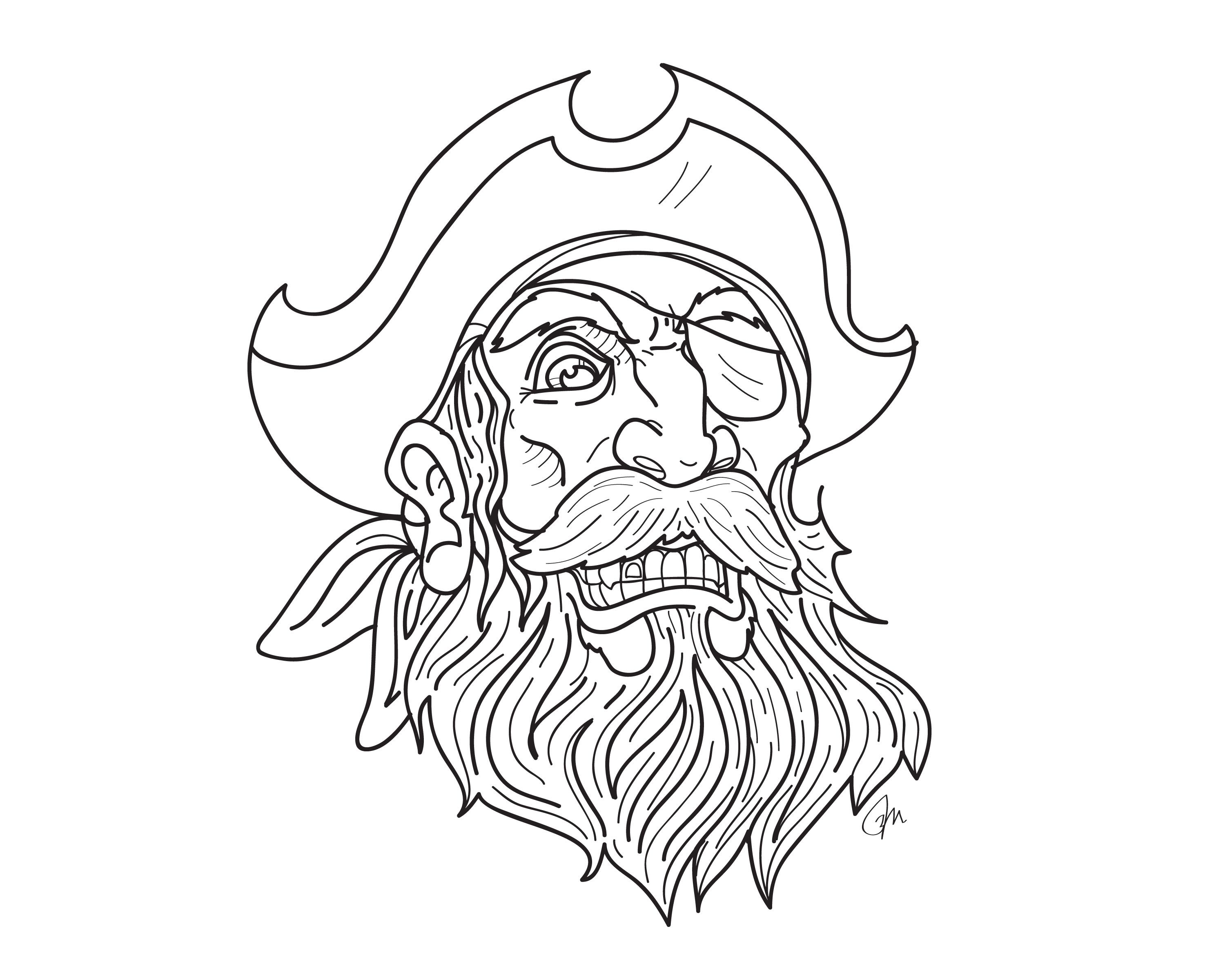 pirate tattoo beard and mustache with gold tooth and eye patch wearing captains hat coloring page