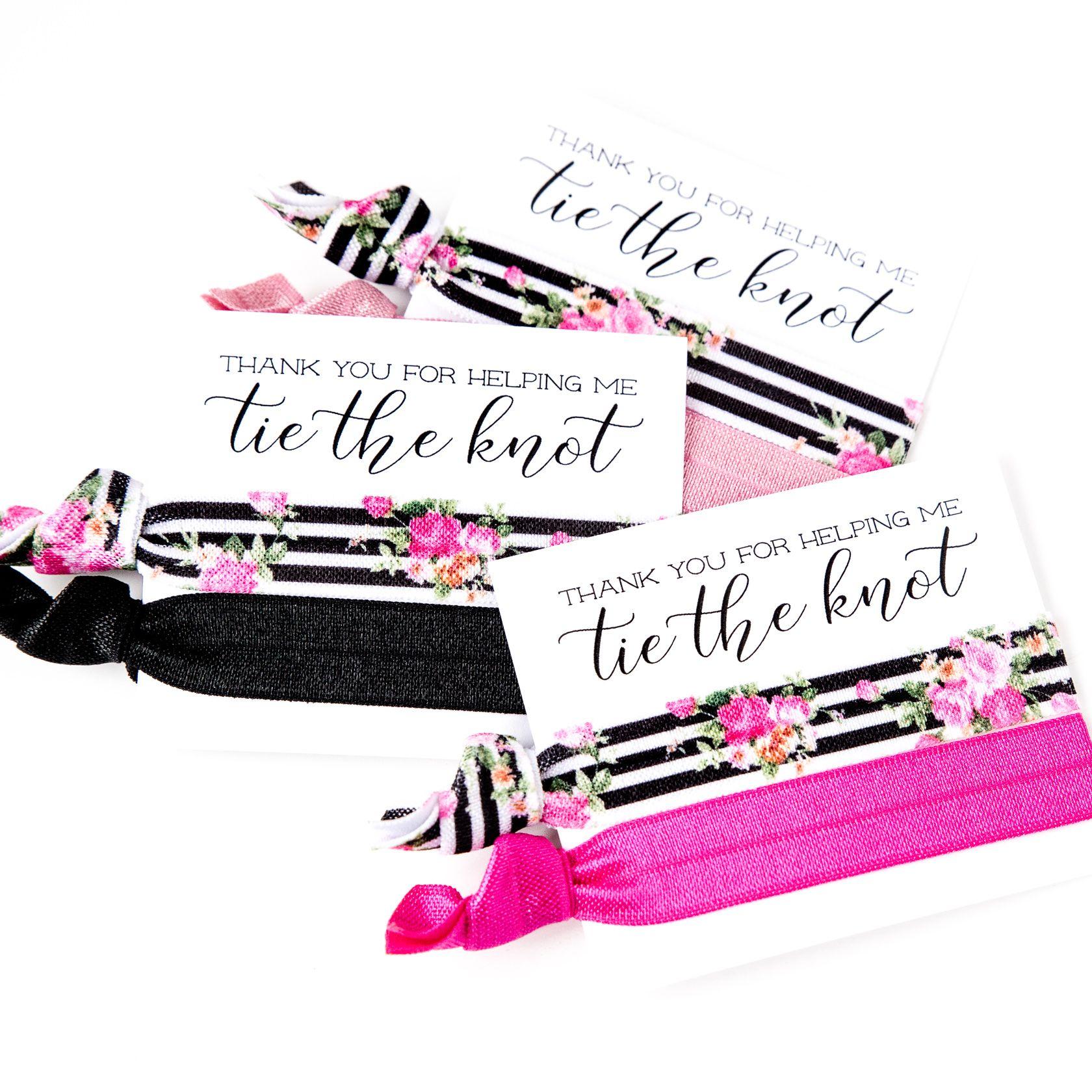 black #pink #hotpink #favor #gift #knot #hairtie #wedding #floral ...