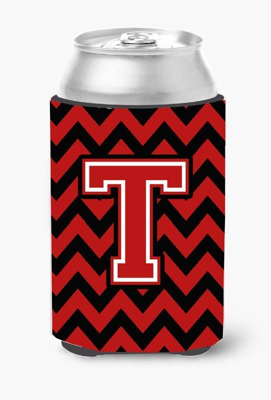 Letter T Chevron Black and Red Can or Bottle Hugger CJ1047-TCC