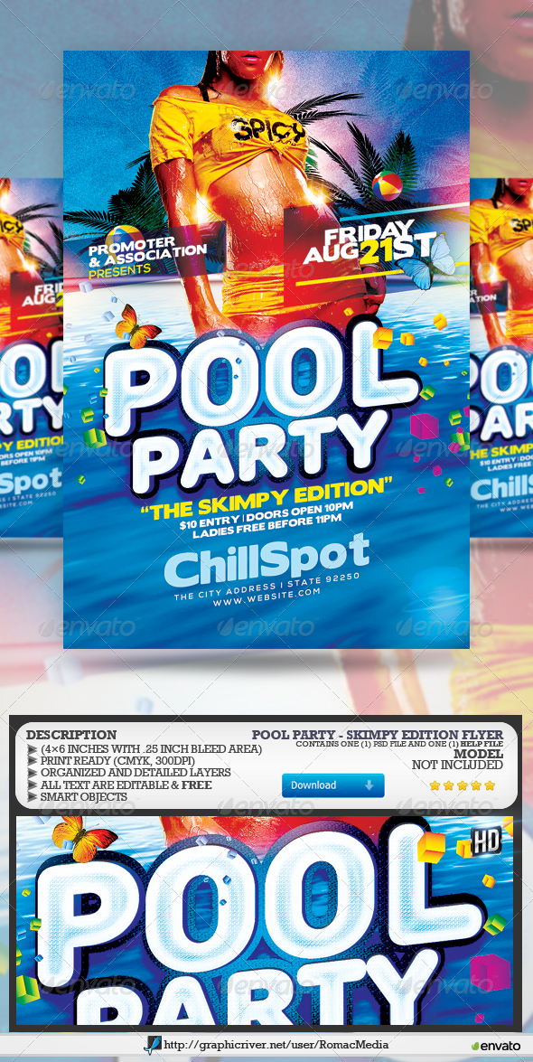 Pool Party Flyer Template Psd  Buy And Download Http