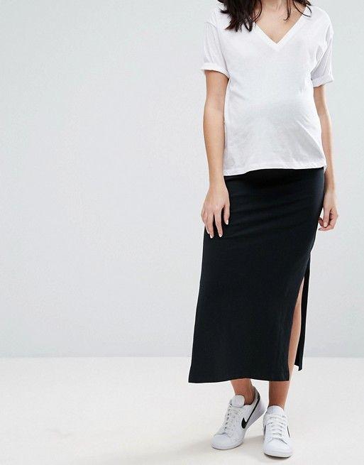 Womens Mamalicious Maternity Over The Bump Tube Skirt