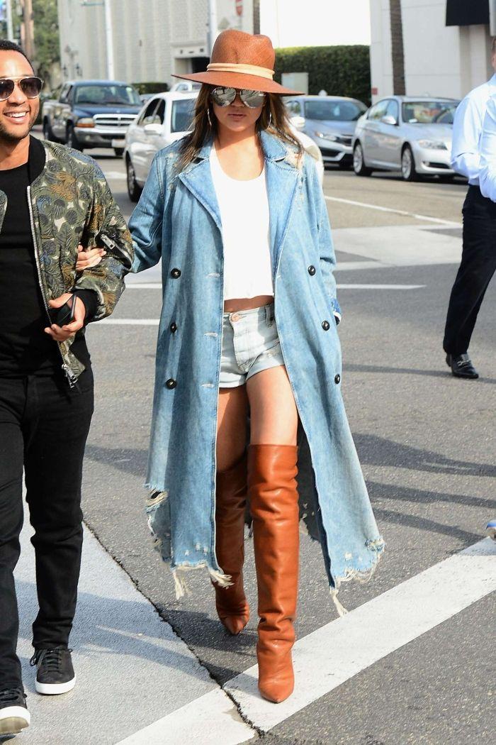 Chrissy Teigen Wearing An Oversized Denim Jacket - Denimology