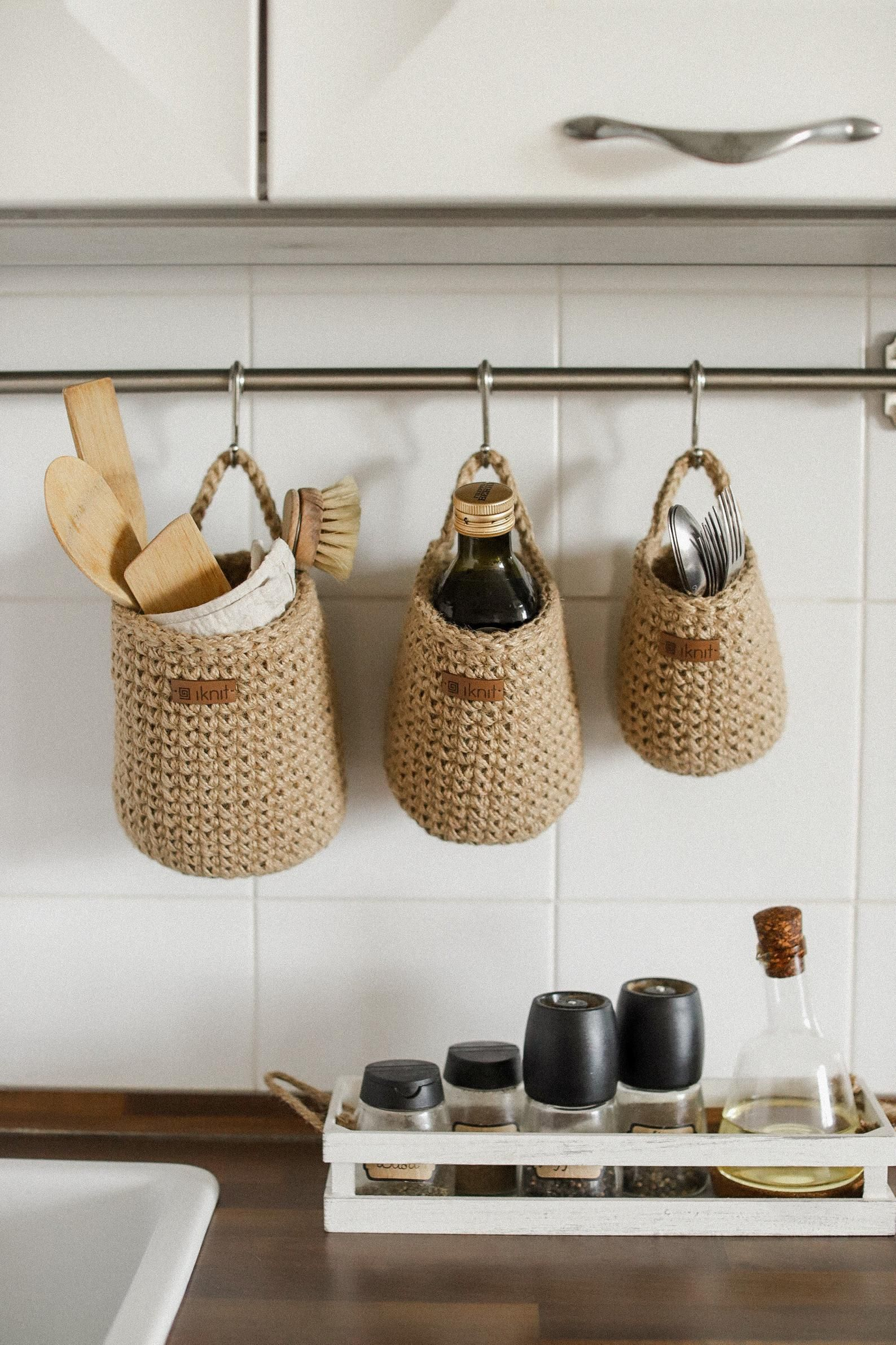 Crochet Jute Baskets Set 3 Storage Baskets Wall Hanging Etsy In 2020 Hanging Basket Storage Jute Basket Wall Hanging Storage