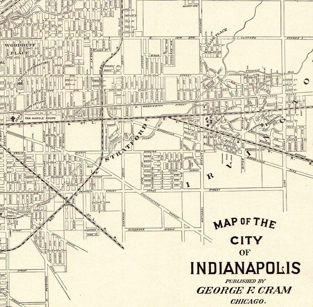 1903 Antique INDIANAPOLIS City MAP Original Map of ...
