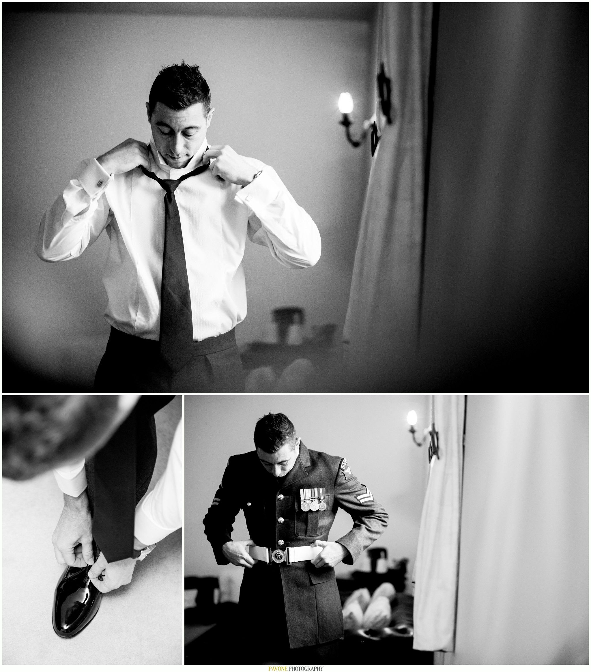 RAF Military Groom Wedding Prep Pavone Photography Www