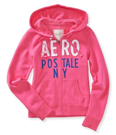 """Shared Via JustSales: Get cozy after the concert in our comfy Aero NY Full-Zip Hoodie! If you sing about its praise-worthy fleece fabric, make sure you add a lyric or two celebrating the cool signature appliqués and embroidery.Relaxed fit. Drawstring. Approx. length (S): 23""""Style: 3330. Imported.Body: 70% cotton, 30% polyester.Hood lining: 60% cotton, 40% polyester.Machine wash/dry."""