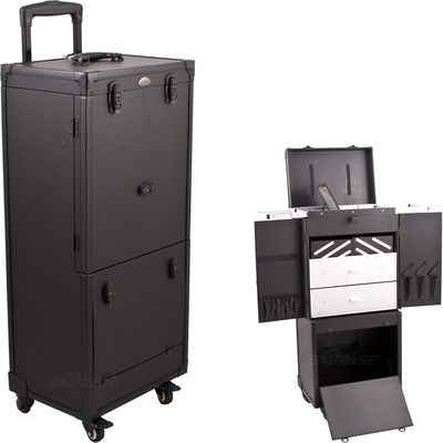 Sunrise All Black Leatherlike Professional Rolling Aluminum Cosmetic Makeup Case With Expandable Trays Drawers And Mirror You Can Find More Details By