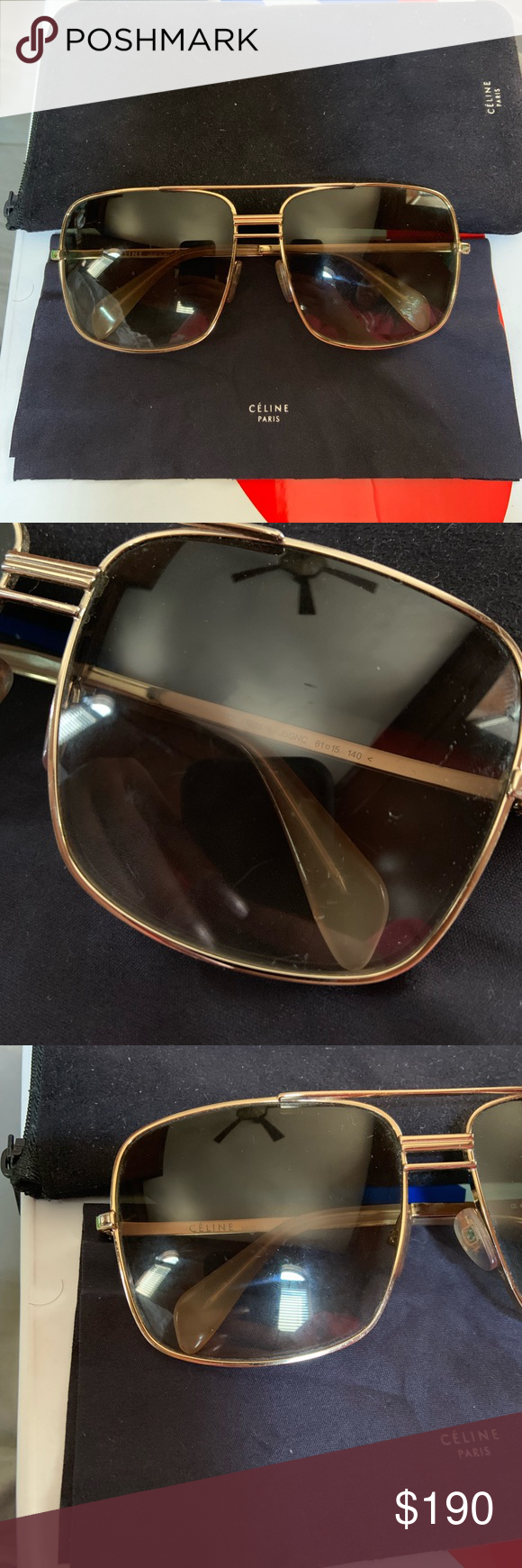 d809eb16bad Gently used Celine CL41808 S Aviators Gently Used Celine CL 41808 S  Oversized Square