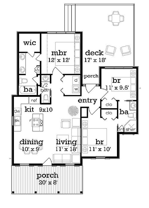 Cottage Style House Plan 3 Beds 250 Baths 1086 SqFt Plan 45 366