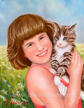 Little girl and her cat giclee art print of by davinstudios