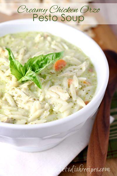 awesome Creamy Chicken Orzo Pesto Soup Recipe...