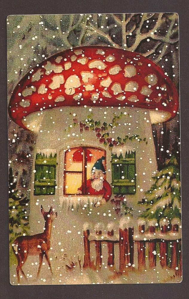 Santa Claus In Mushroom House And Deer Postcard Carte Postale Ebay Vintage Christmas Images Vintage Christmas Christmas Scenes