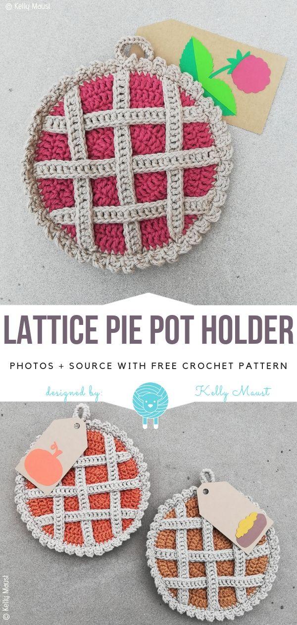 Lattice Pie Pot Holder Free Crochet Pattern #crochetpatterns