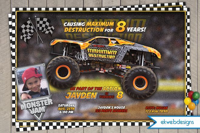 Printable Birthday Invitations For Boy ~ Monster truck printable birthday invitation maximum destruction