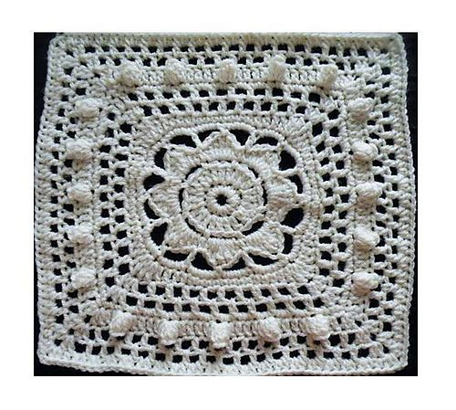 Ravelry: Popcorn Parade lacy puff afghan square with flower - free ...
