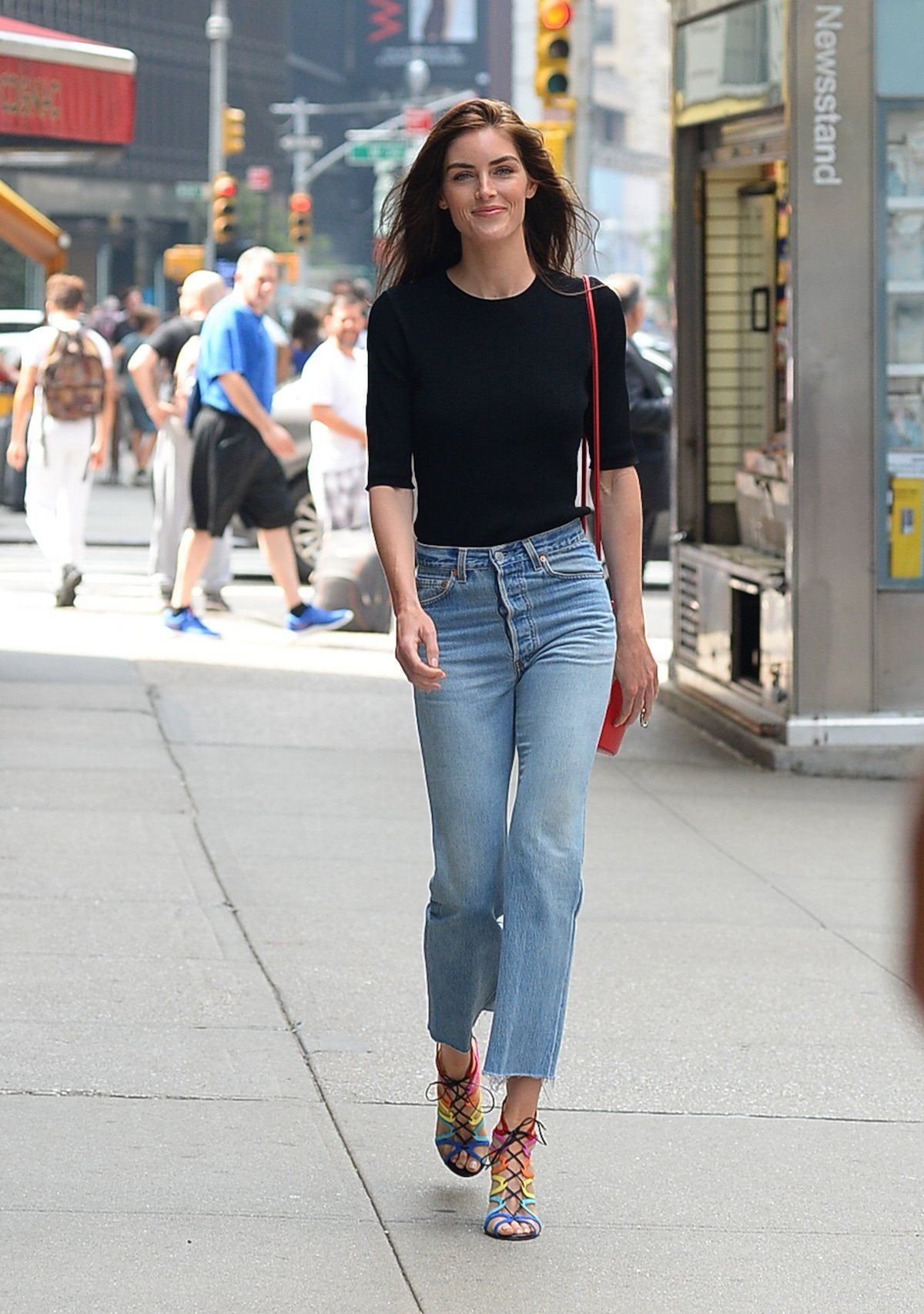 27efe7468f8 Hilary Rhoda attended castings in a plain black top and light-wash jeans --  at the Victoria s Secret Fashion Show 2017 casting call ...