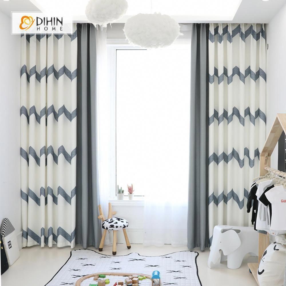 Dihin Home Elegant Grey Stripes Printed Blackout Grommet Wi
