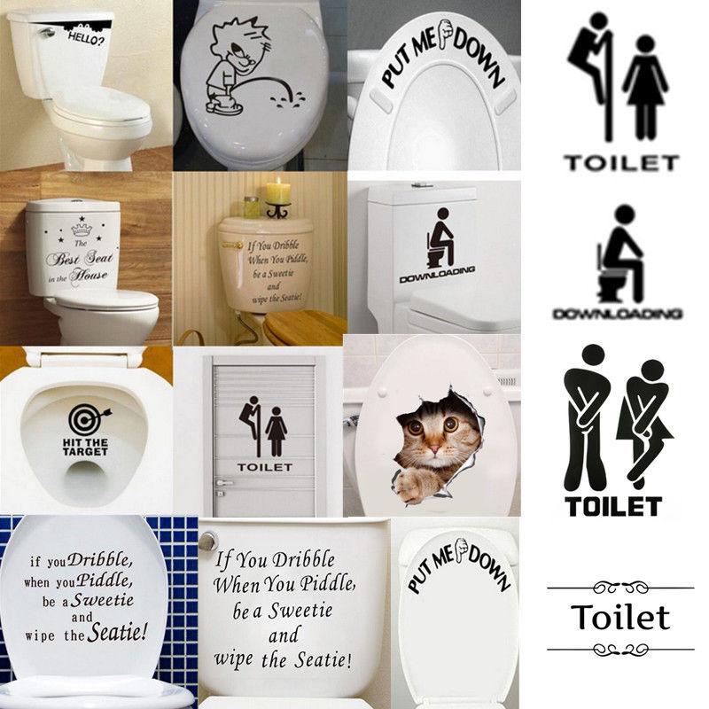 Toilet Seat  DIY Wall Sticker Decals Art Removable Restroom Bathroom Door Decals