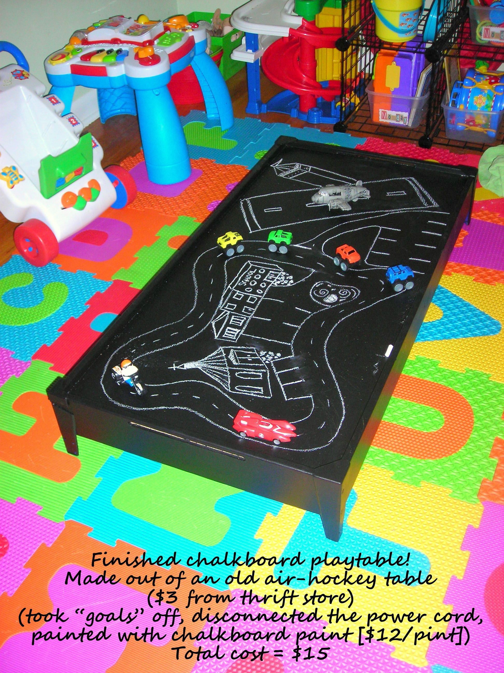 Ordinaire DIY Chalkboard Play Table; Made From An Air Hockey Table ($3 At Thrift