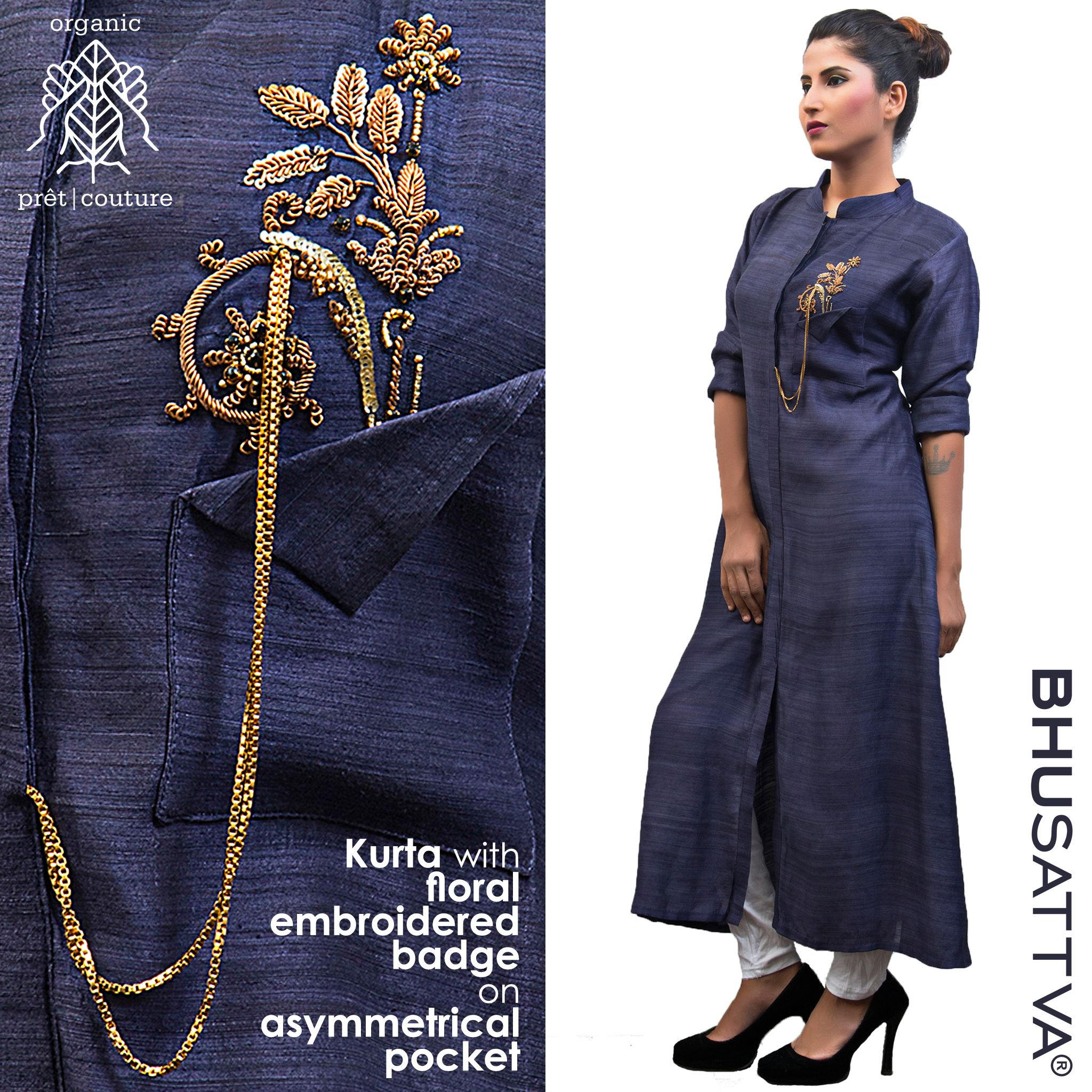 Organic elegance is grace redefined... Flaunt this amazing and elegant kurta with embroidered badge to suit your style. #Bhusattva #BhusattvaOrganic #BlackIsBack #ReflectOrganic #RevealYourself #iWearBhusattva #BelieveWhatYouWear #TrustNature #ArtInspired #MysticalNature #CloseToNature #OrganicIdeology #OrganicCollection #NaturalDyes #EcoFashion #OrganicFashion #SustainableFashion #GoOrganic #WearOrganic #DesignerLabel #DesignerWear #EcoFriendly #Handmade #MadeInIndia #MakeInIndia #FairTrade
