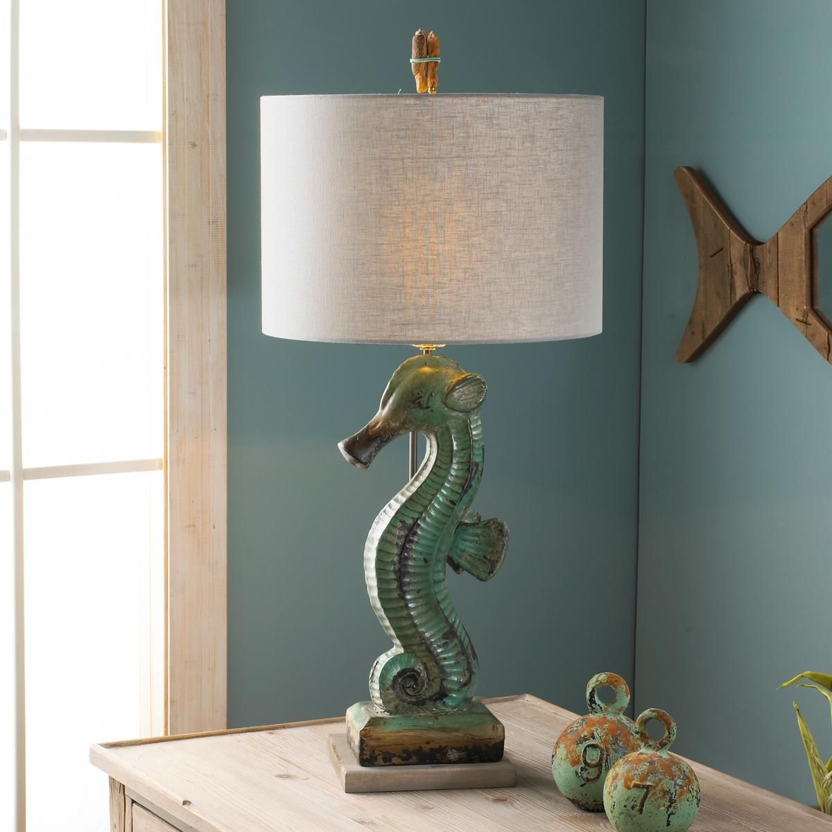 Green Ceramic Seahorse Table Lamp Can someone PLEASE find me a knock ...