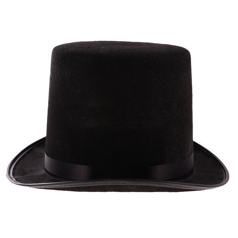 Black Tall Top Hat Hard Topper Adult Magician Jazz Hat Gentleman New