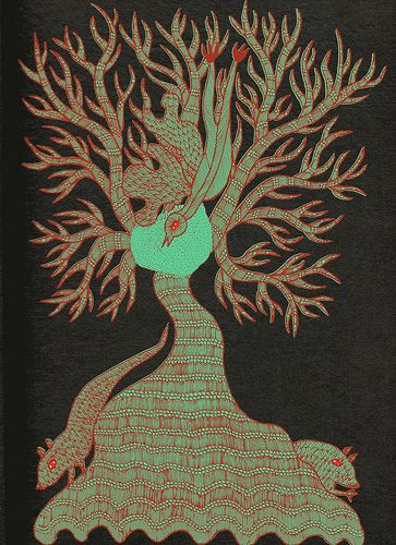 """'The Night Life of Trees' © Tara Books Pvt. Ltd. 2006 Art: Bhajju Shyam, Durga Bai and Ram Singh Urveti. Design: Gita Wolf and Rathna Ramanathan. """"The Night Life of Trees was conceived when Tara brought Gond artists down to Chennai to work with them; the Gond live in the northern state of Madhya Pradesh, 600 kilometres from the city of Bhopal. 'We noticed there was a tree in every story they told ..."""""""