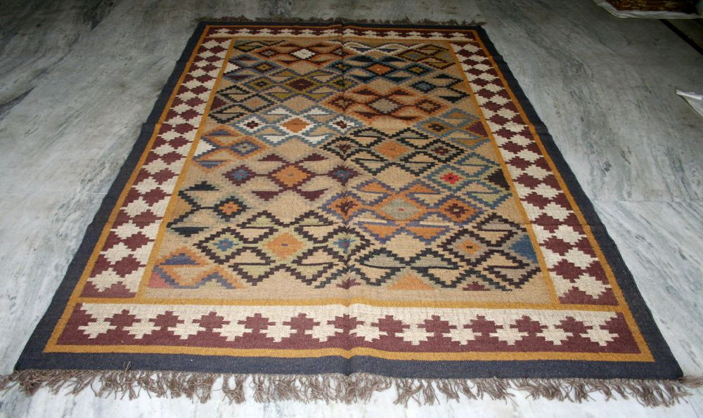 Kilim Turkish Vintage Kilim Area Rug Wool Jute ~~ ANTIQUE RUGS EDH