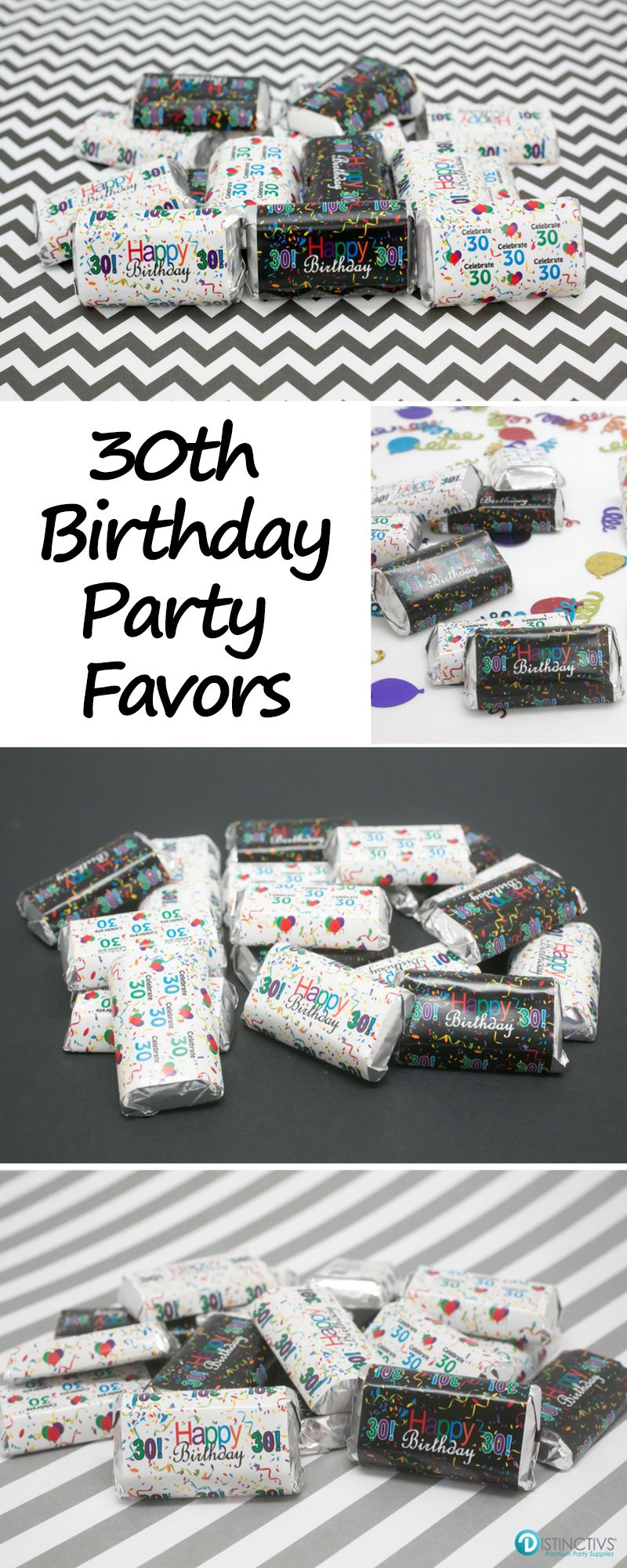 Multi-Colored 30th Birthday Party - Mini Candy Bar Stickers (Set of ...