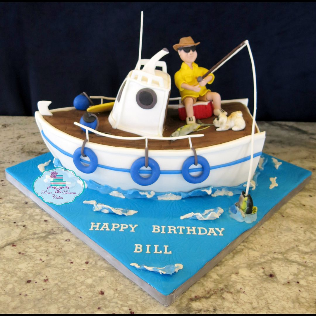 Sculpted Boat Fishing Cake All Occassion Cakes Pinterest - Fishing boat birthday cake