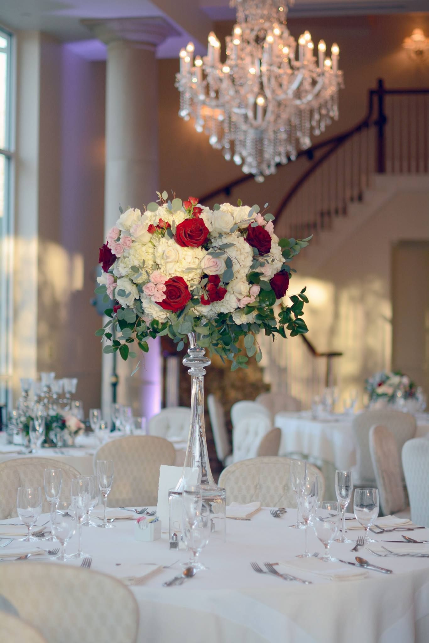 Centerpiece Idea Every Other Table Flowers White And Deep Burgundy To Mat Red Wedding Flowers Centerpieces Gold Wedding Decorations Cheap Wedding Decorations