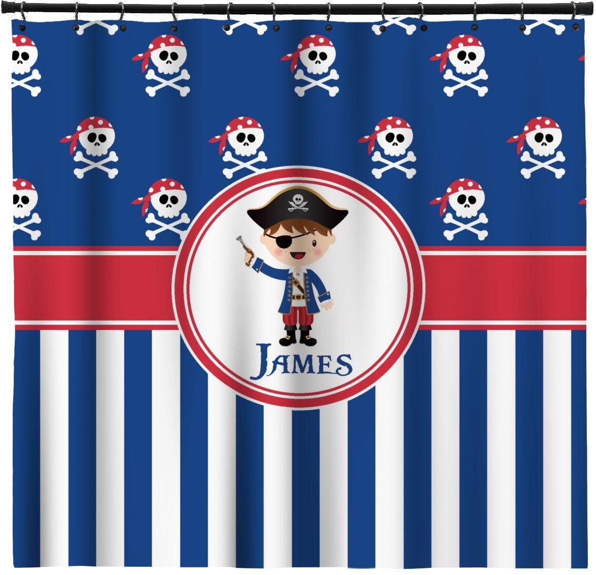 Top kids pirate shower curtain pirate bathroom decor kids pirate - Blue Pirate Shower Curtain Personalized
