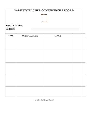 a log for sharing observations and setting goals for a student in a