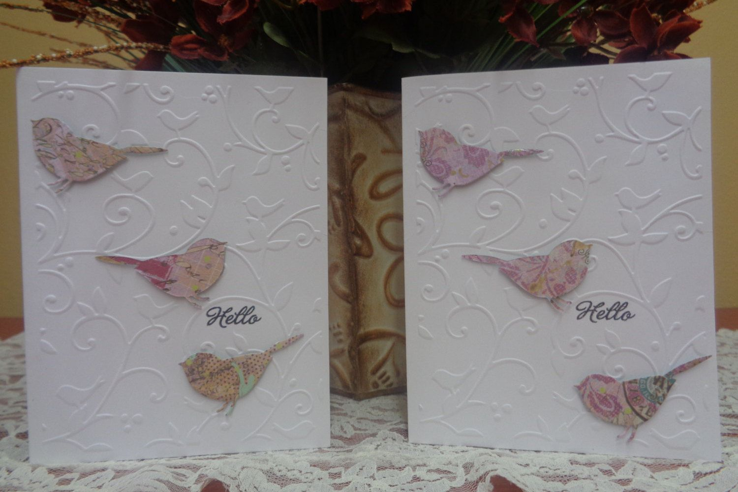 "Birds and swirls ""Hello"" card by LuvinItCREATIONS on Etsy"