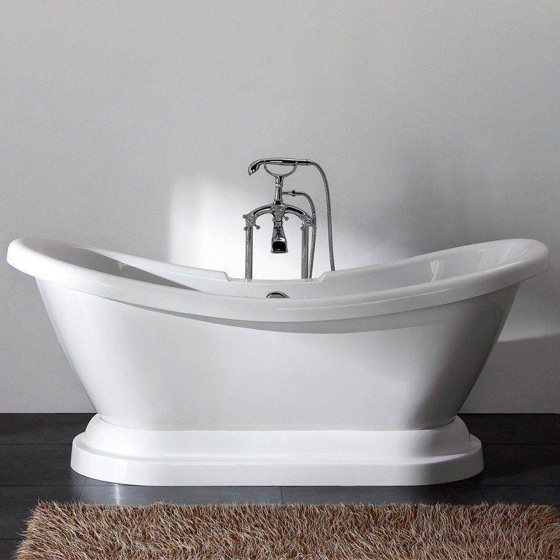 Randolph Morris 70-Inch Acrylic Double Slipper Pedestal Tub - Rim ...