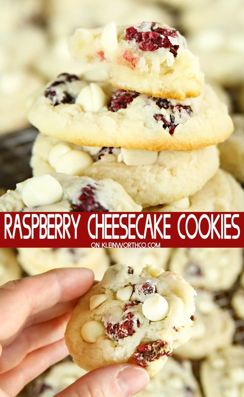 Soft & chewy Raspberry Cheesecake Cookies topped with white chocolate are the perfect cookies for any celebration. Make for Christmas, Mother's Day & summer holidays. #whitechocolateraspberrycheesecake