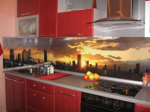Colorful Glass Backsplash Ideas Adding Digital Prints To Modern Kitchen Design