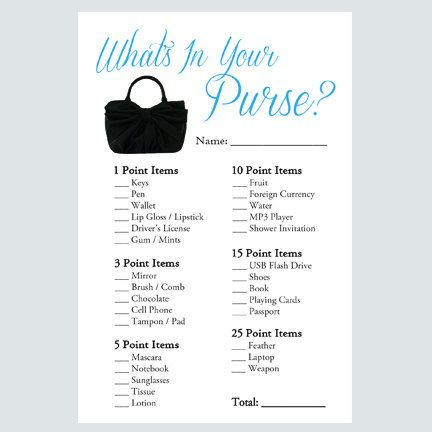 What's In Your Purse Game - Personalized Bridal Shower ...