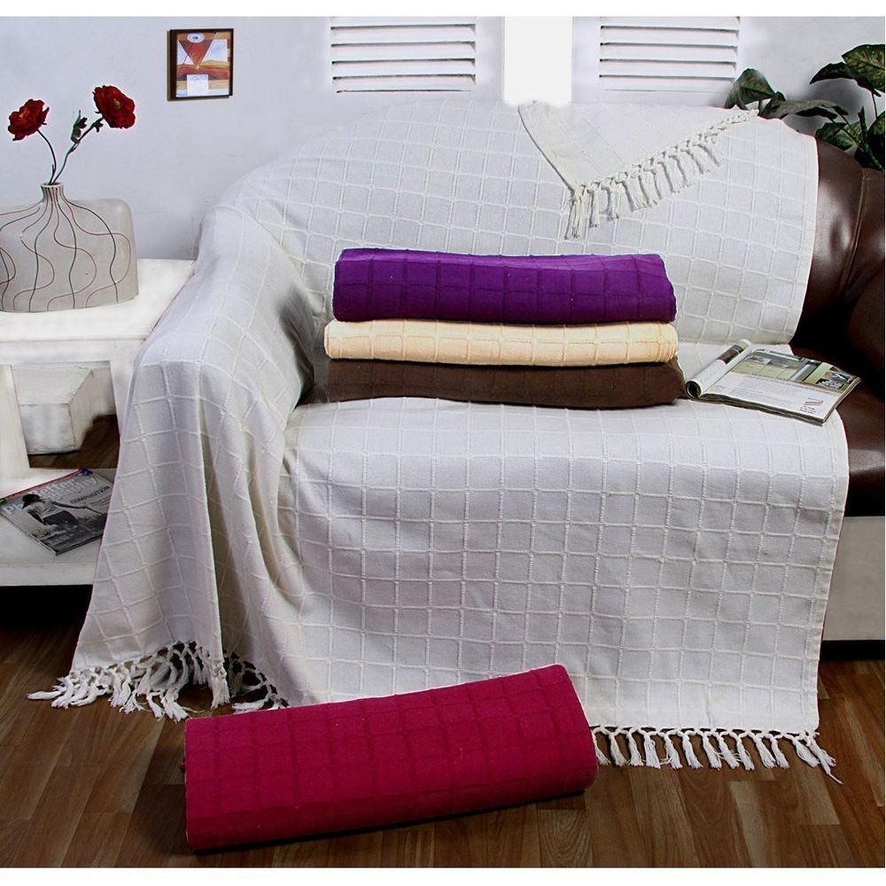 Large 100 % Cotton Sofa Throw Batten Woven 1,2,3 Seater Bed Arm Chair Cover  New